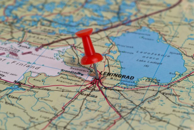 Leningrad Marked With Red Pushpin on Map